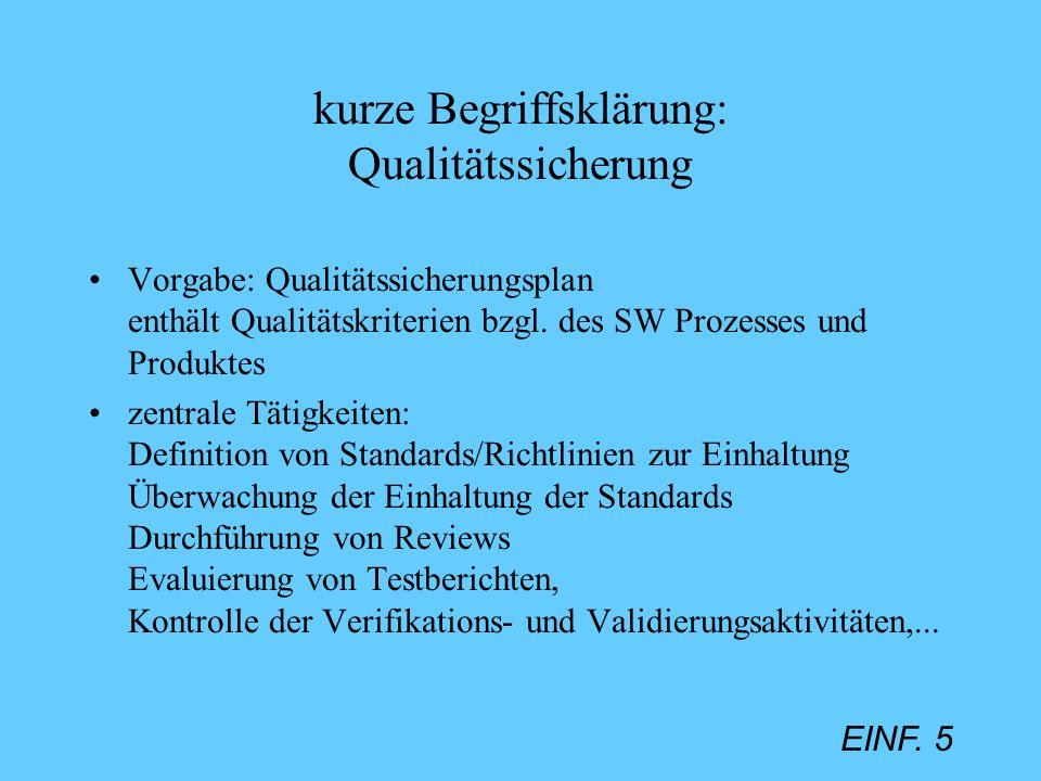 kurze Begriffsklärung: Qualitätssicherung