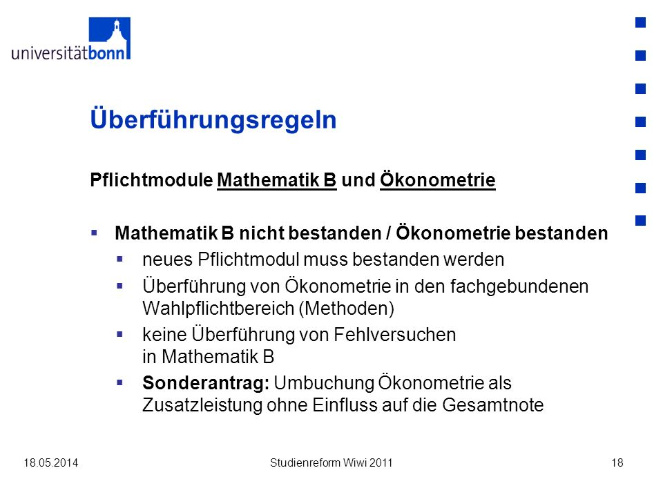Überführungsregeln Pflichtmodule Mathematik B und Ökonometrie