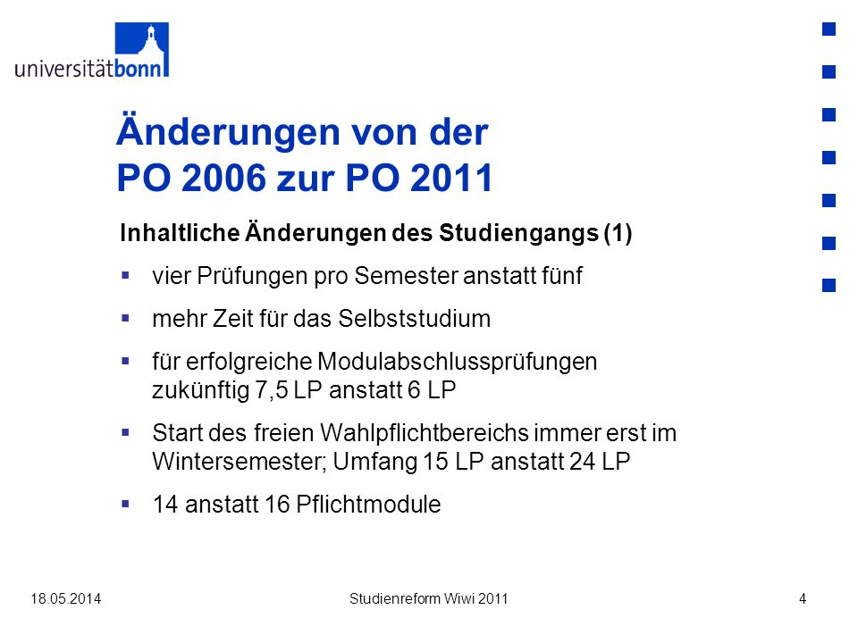 Änderungen von der PO 2006 zur PO 2011