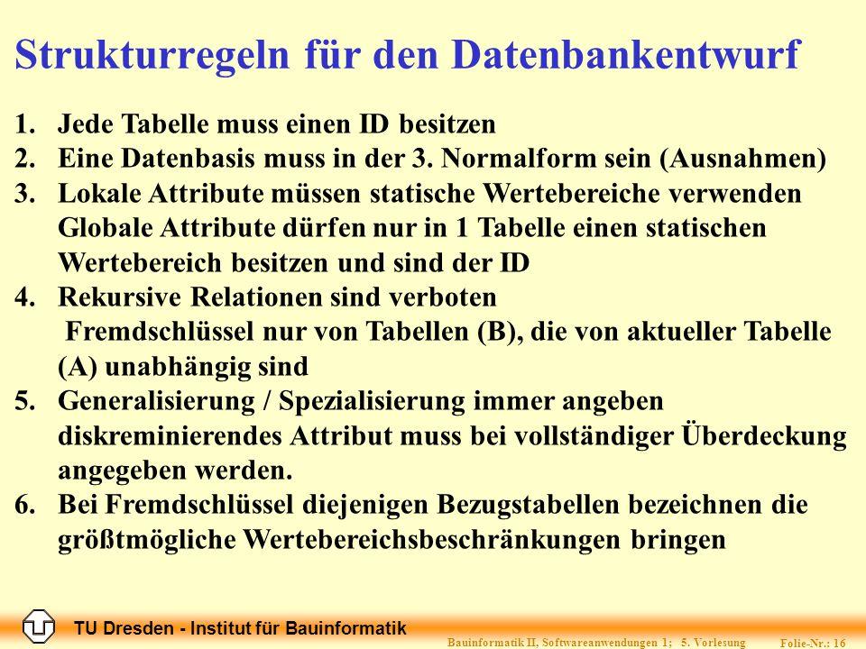 Strukturregeln für den Datenbankentwurf