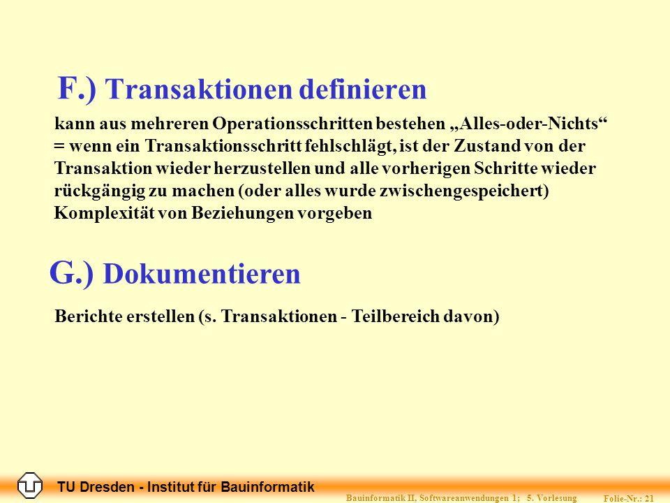 F.) Transaktionen definieren