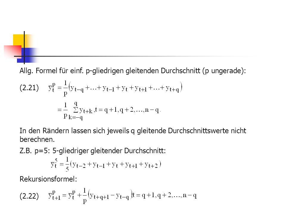 Allg. Formel für einf. p-gliedrigen gleitenden Durchschnitt (p ungerade):