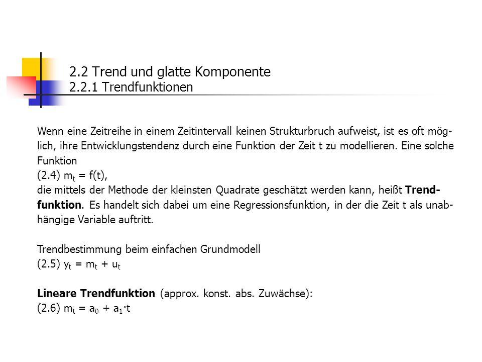 2.2 Trend und glatte Komponente 2.2.1 Trendfunktionen