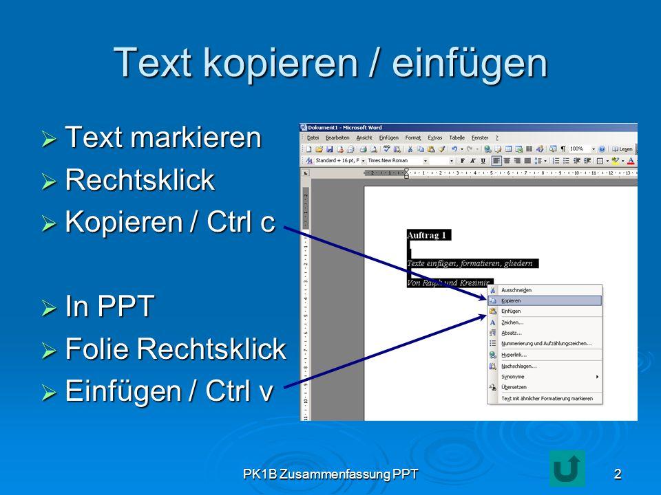 Text kopieren / einfügen