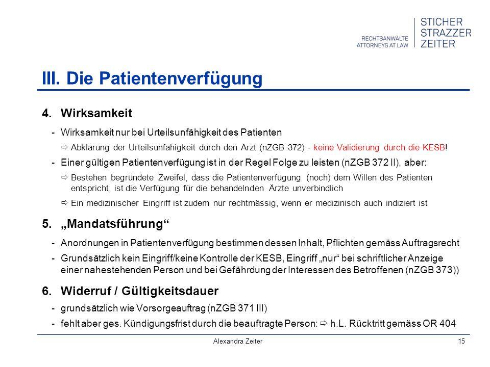 III. Die Patientenverfügung