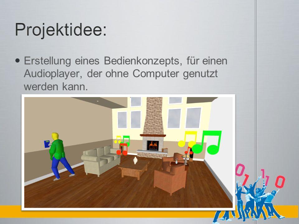 Projektidee: Erstellung eines Bedienkonzepts, für einen Audioplayer, der ohne Computer genutzt werden kann.