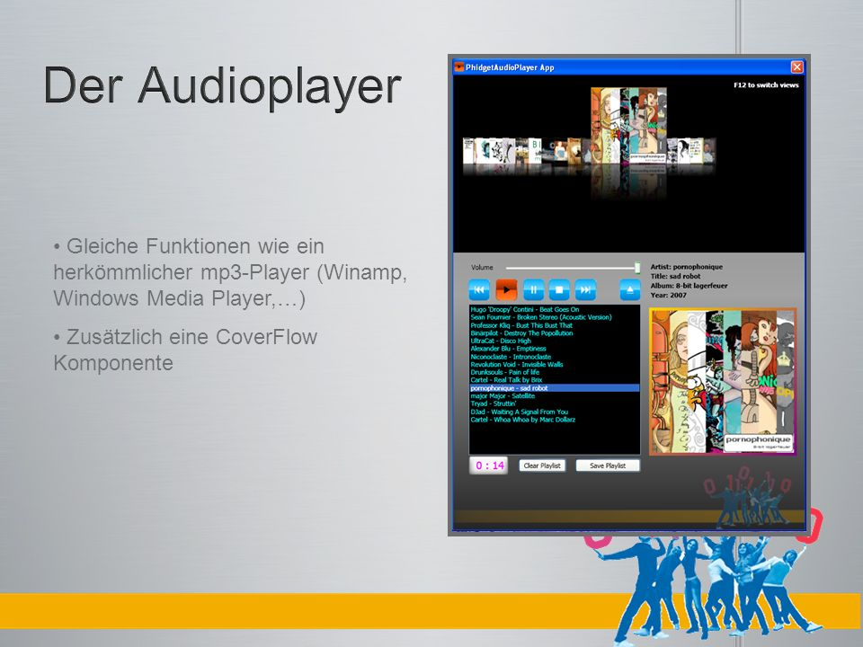 Der Audioplayer Gleiche Funktionen wie ein herkömmlicher mp3-Player (Winamp, Windows Media Player,…)