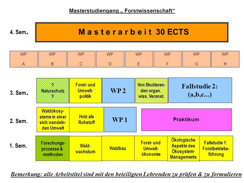 M a s t e r a r b e i t 30 ECTS Fallstudie 2: WP 2 (a,b,c...) WP 1