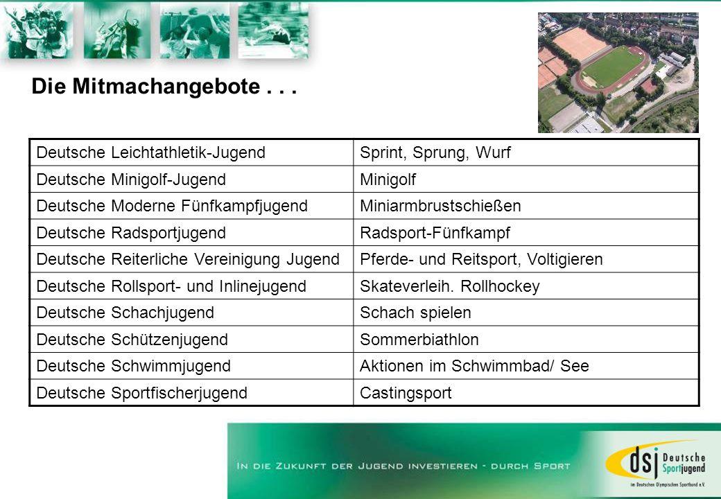 Die Mitmachangebote . . . Deutsche Leichtathletik-Jugend