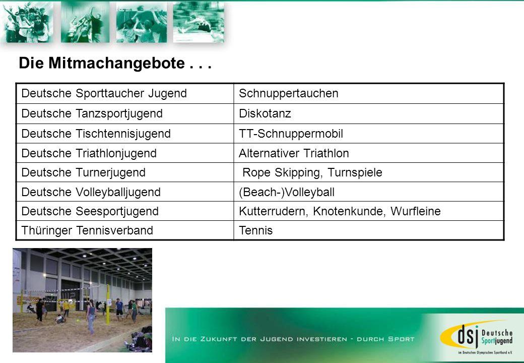 Die Mitmachangebote . . . Deutsche Sporttaucher Jugend