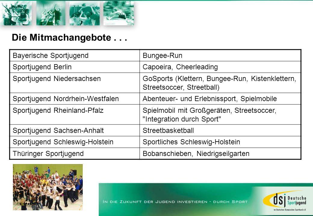 Die Mitmachangebote . . . Bayerische Sportjugend Bungee-Run