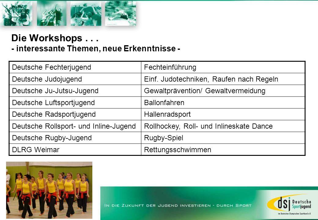 Die Workshops . . . - interessante Themen, neue Erkenntnisse -