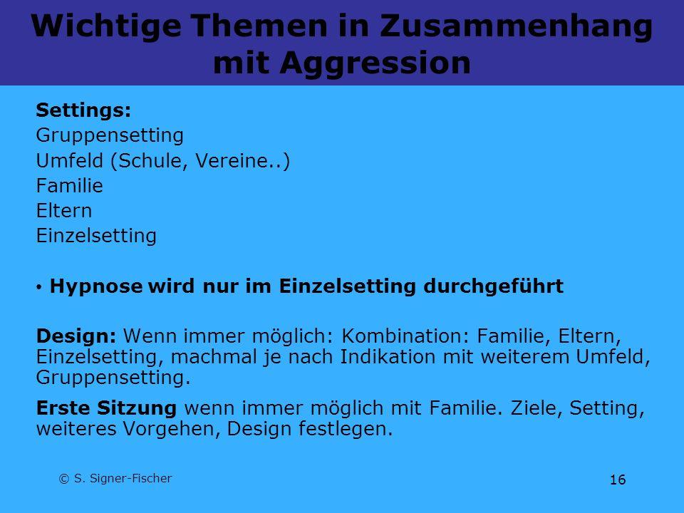 Wichtige Themen in Zusammenhang mit Aggression