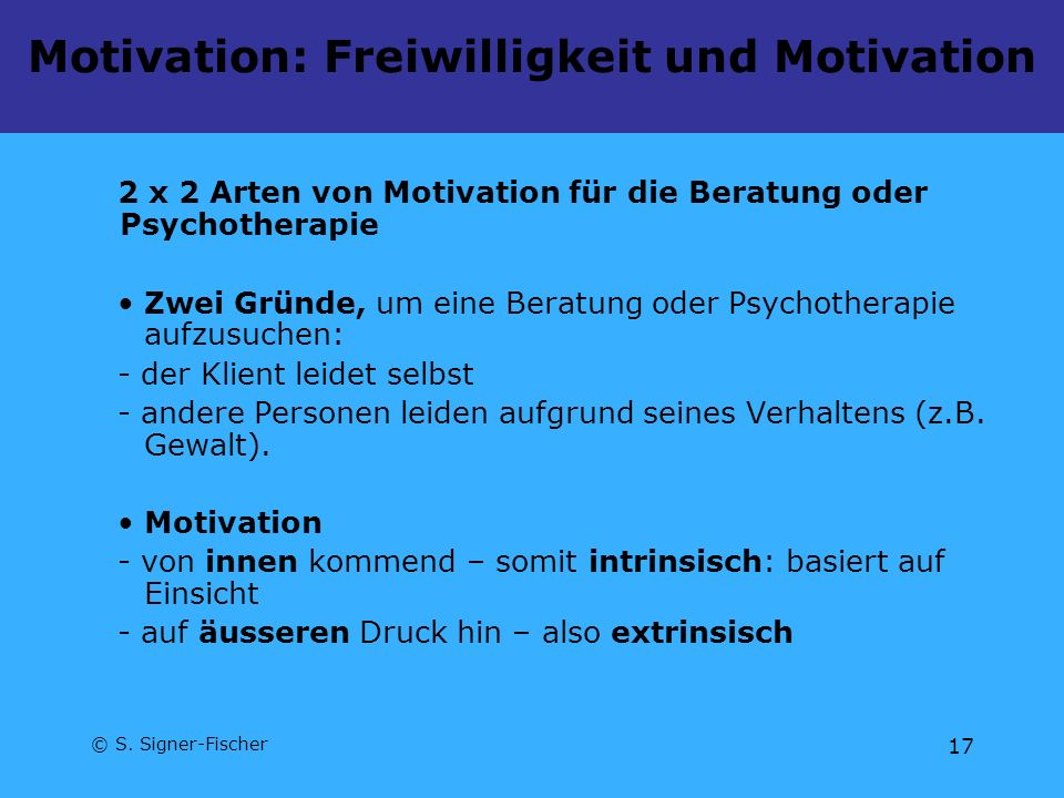 Motivation: Freiwilligkeit und Motivation