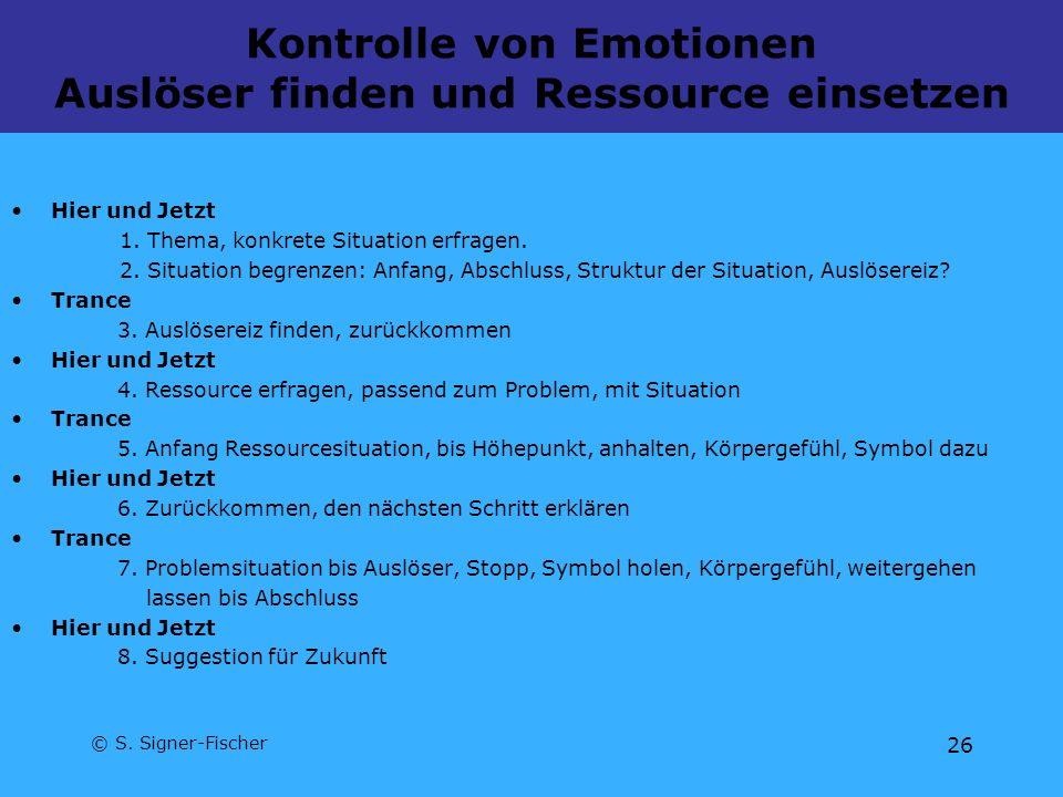 Kontrolle von Emotionen Auslöser finden und Ressource einsetzen
