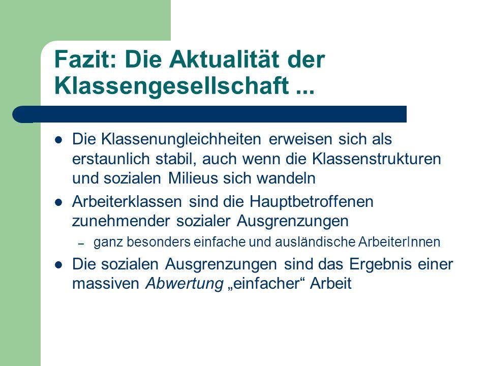 Fazit: Die Aktualität der Klassengesellschaft ...