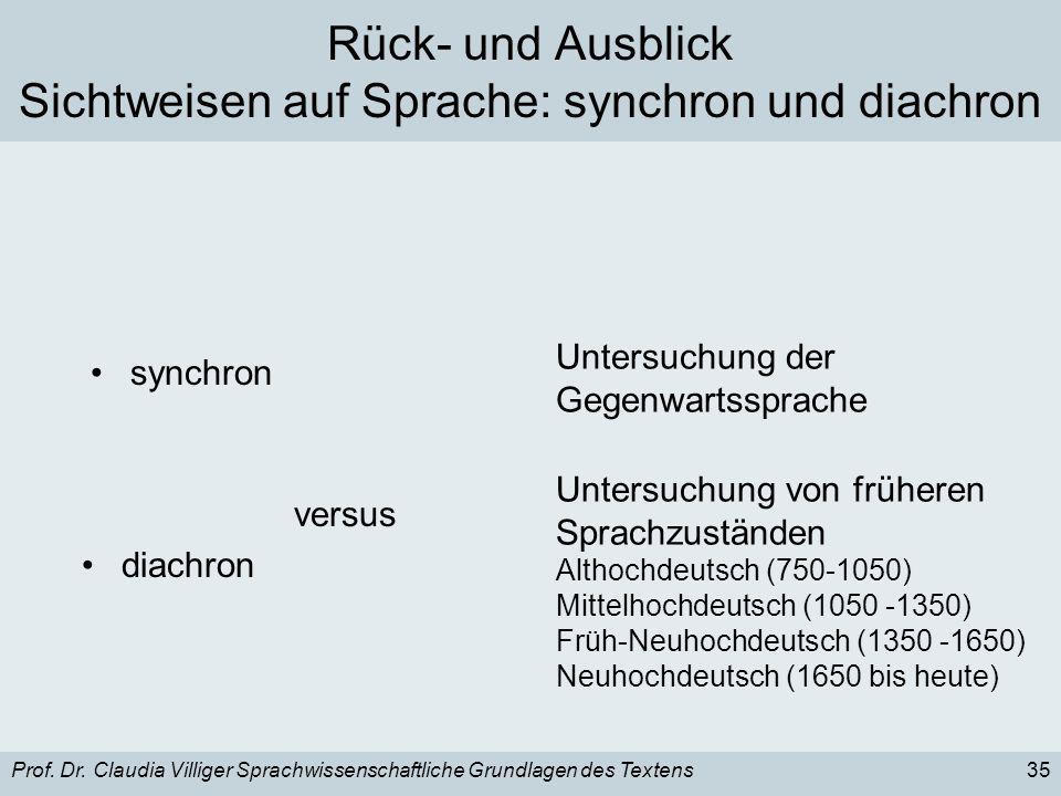 Rück- und Ausblick Sichtweisen auf Sprache: synchron und diachron