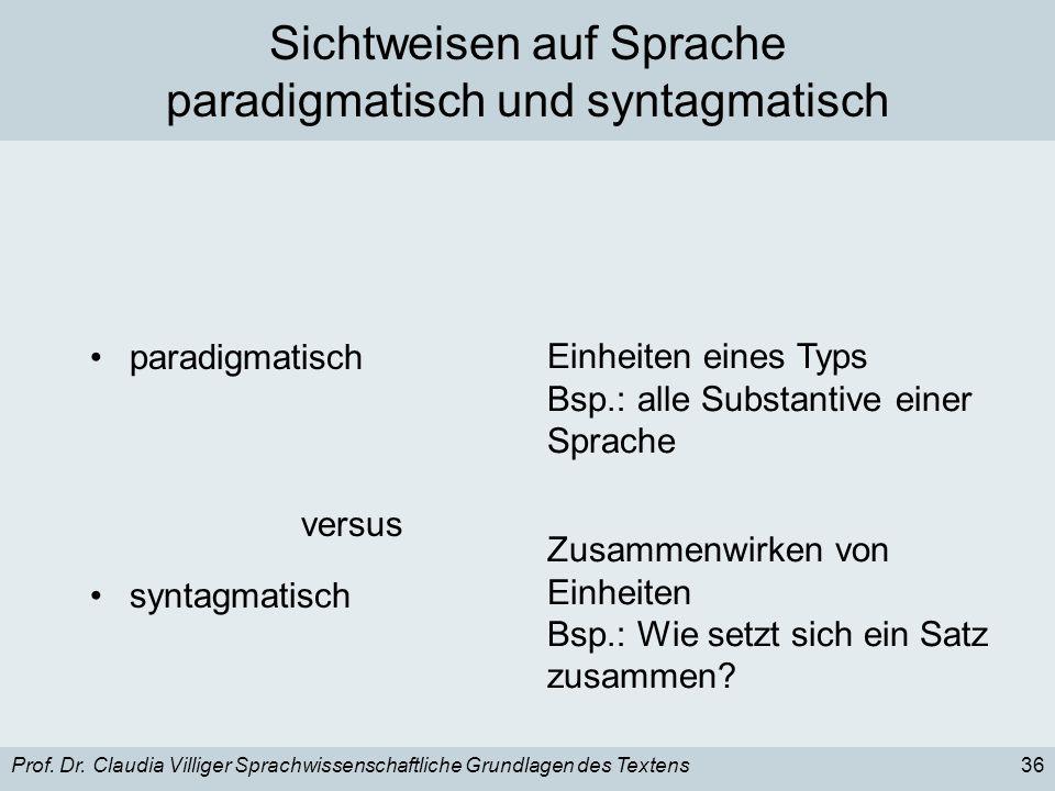 Sichtweisen auf Sprache paradigmatisch und syntagmatisch