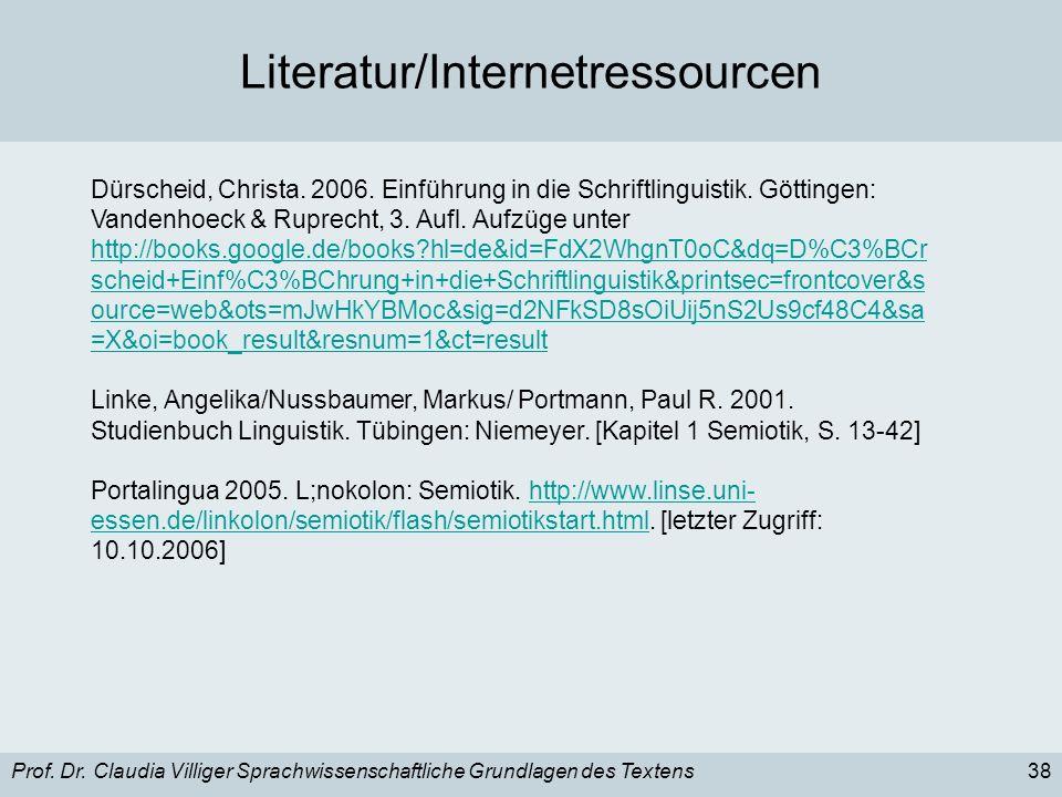 Literatur/Internetressourcen