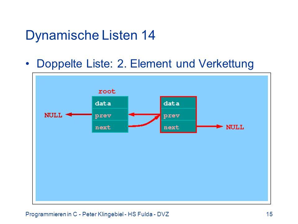Dynamische Listen 14 Doppelte Liste: 2. Element und Verkettung
