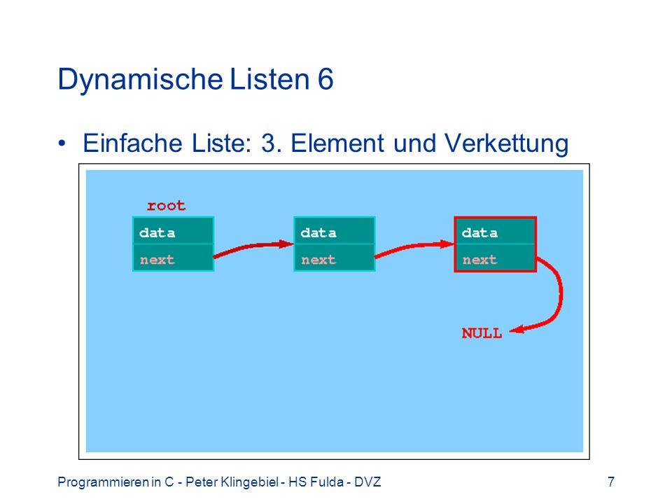 Dynamische Listen 6 Einfache Liste: 3. Element und Verkettung
