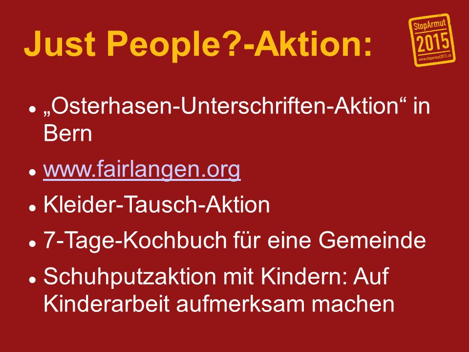 "Just People -Aktion: ""Osterhasen-Unterschriften-Aktion in Bern"