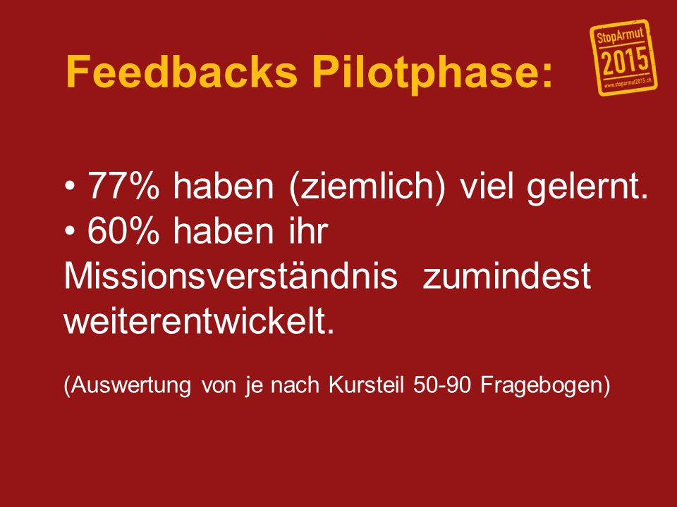 Feedbacks Pilotphase: