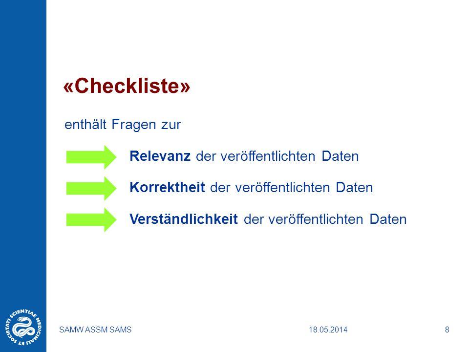 «Checkliste» enthält Fragen zur Relevanz der veröffentlichten Daten