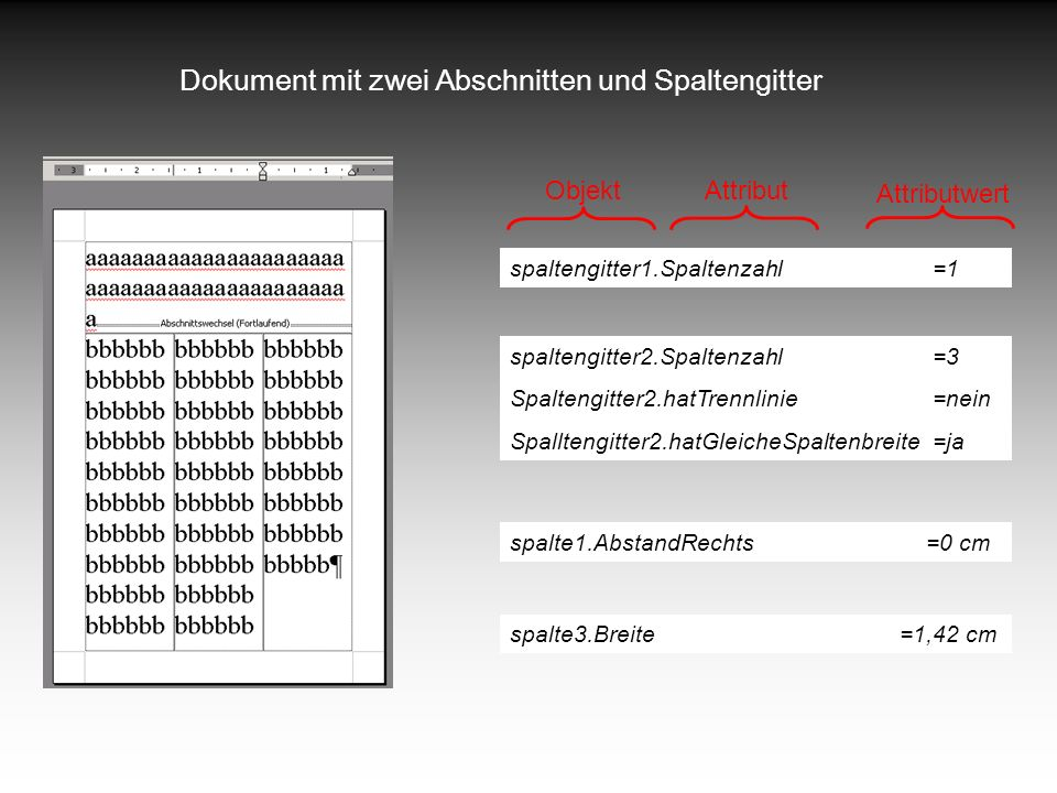 Dokument mit zwei Abschnitten und Spaltengitter