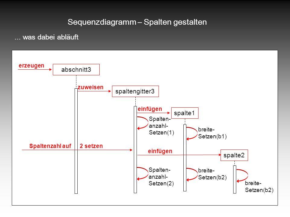 Sequenzdiagramm – Spalten gestalten