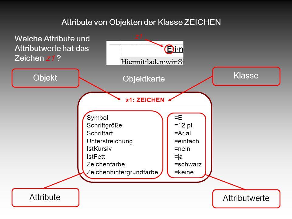 Attribute von Objekten der Klasse ZEICHEN