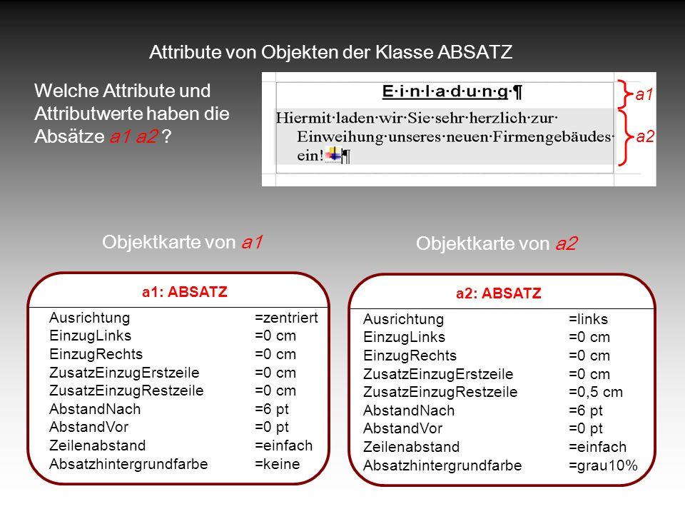 Attribute von Objekten der Klasse ABSATZ