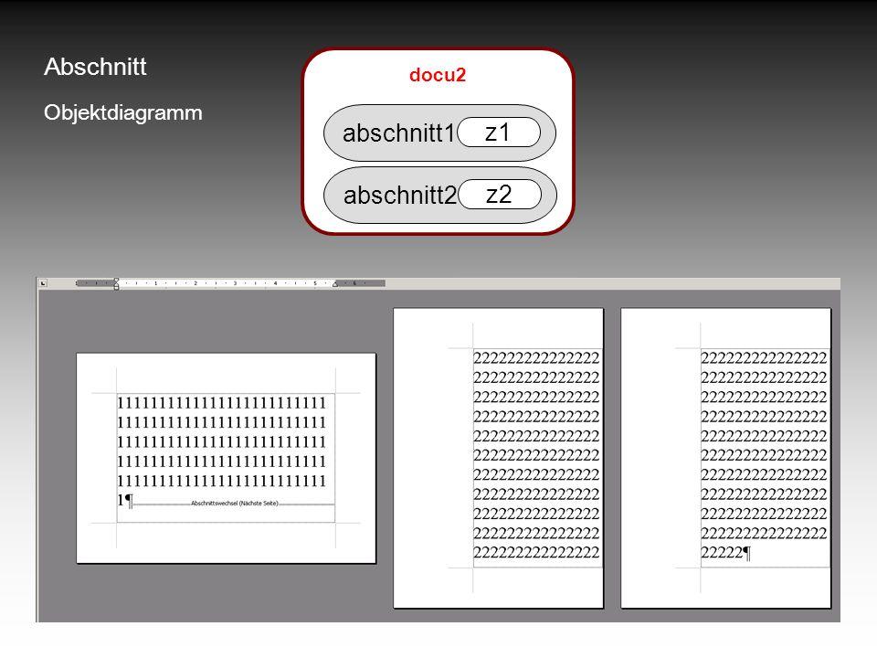 Abschnitt docu2 Objektdiagramm abschnitt1 z1 abschnitt2 z2