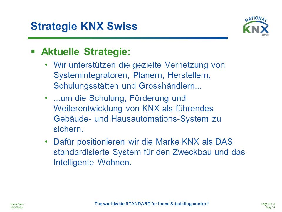 Strategie KNX Swiss Aktuelle Strategie: