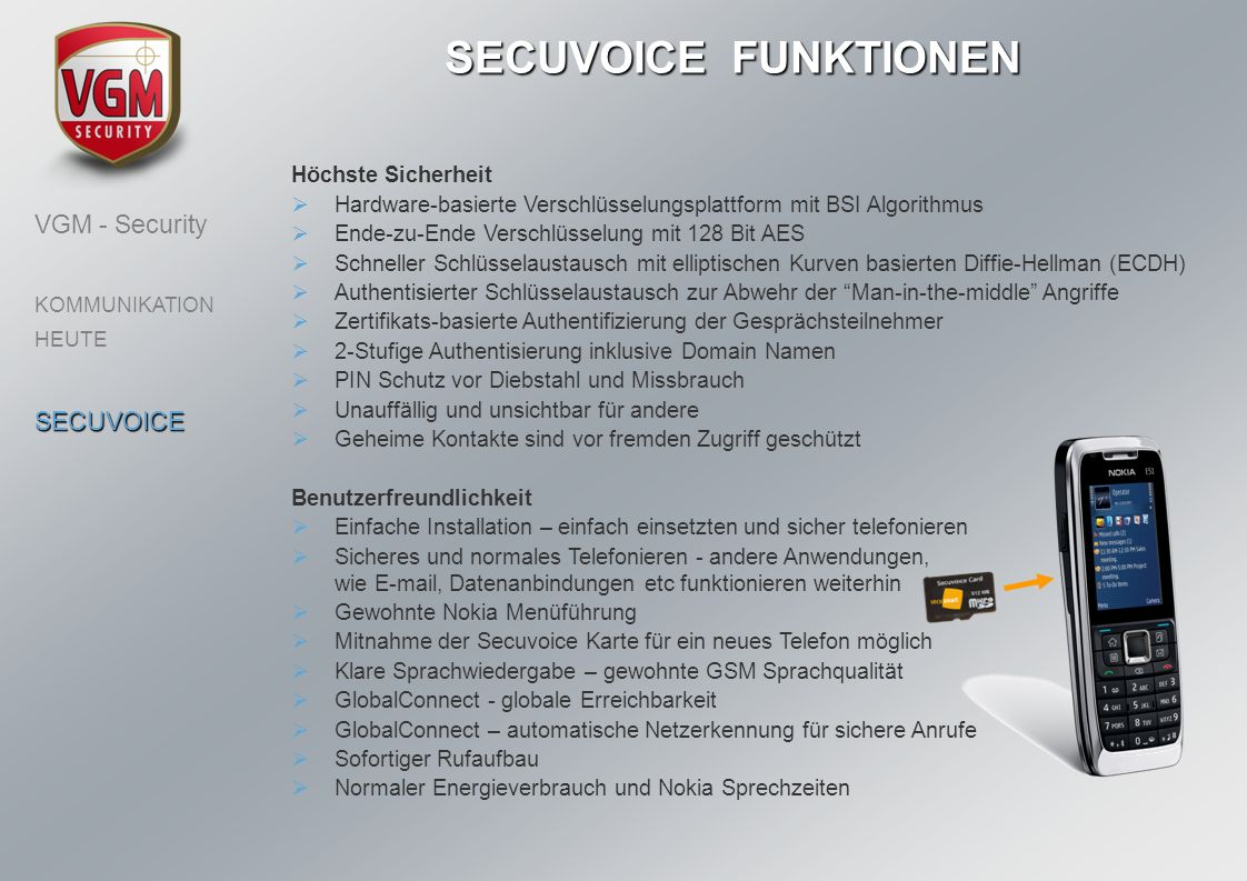 SECUVOICE FUNKTIONEN VGM - Security SECUVOICE Höchste Sicherheit