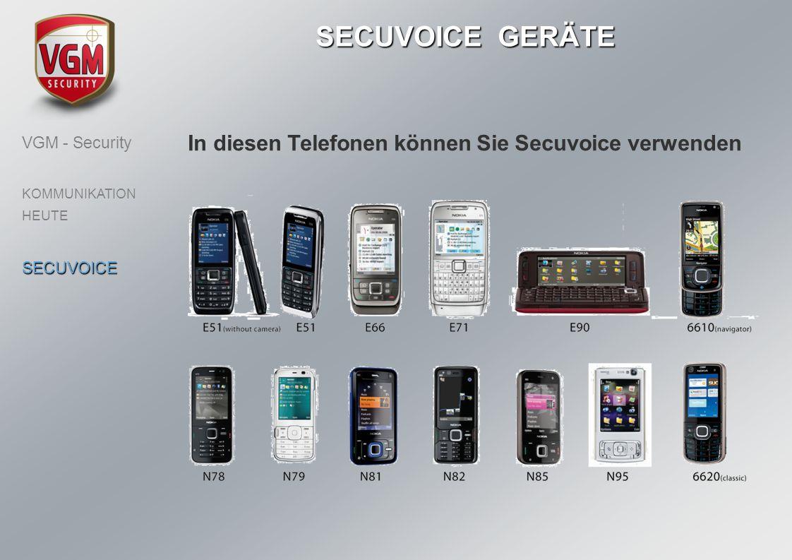 In diesen Telefonen können Sie Secuvoice verwenden