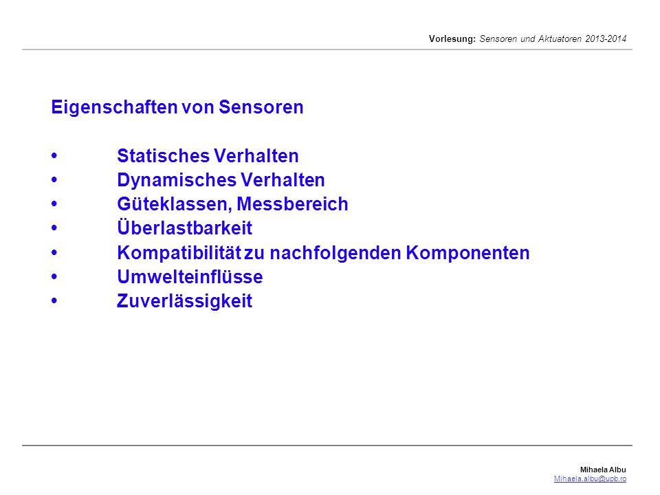 Eigenschaften von Sensoren •. Statisches Verhalten •