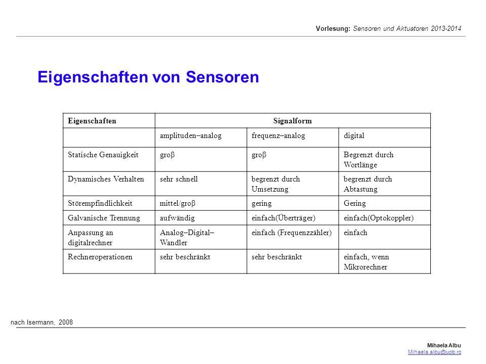 Eigenschaften von Sensoren
