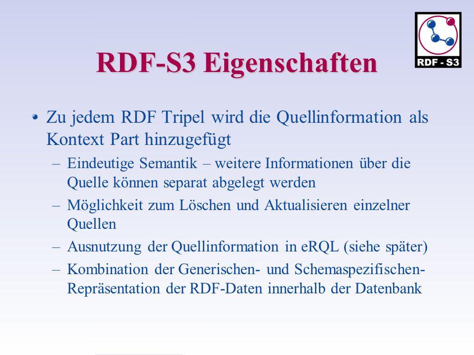 RDF-S3 Eigenschaften Zu jedem RDF Tripel wird die Quellinformation als Kontext Part hinzugefügt.