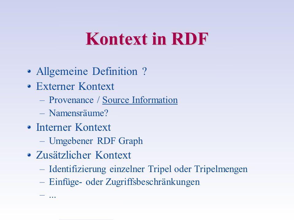 Kontext in RDF Allgemeine Definition Externer Kontext