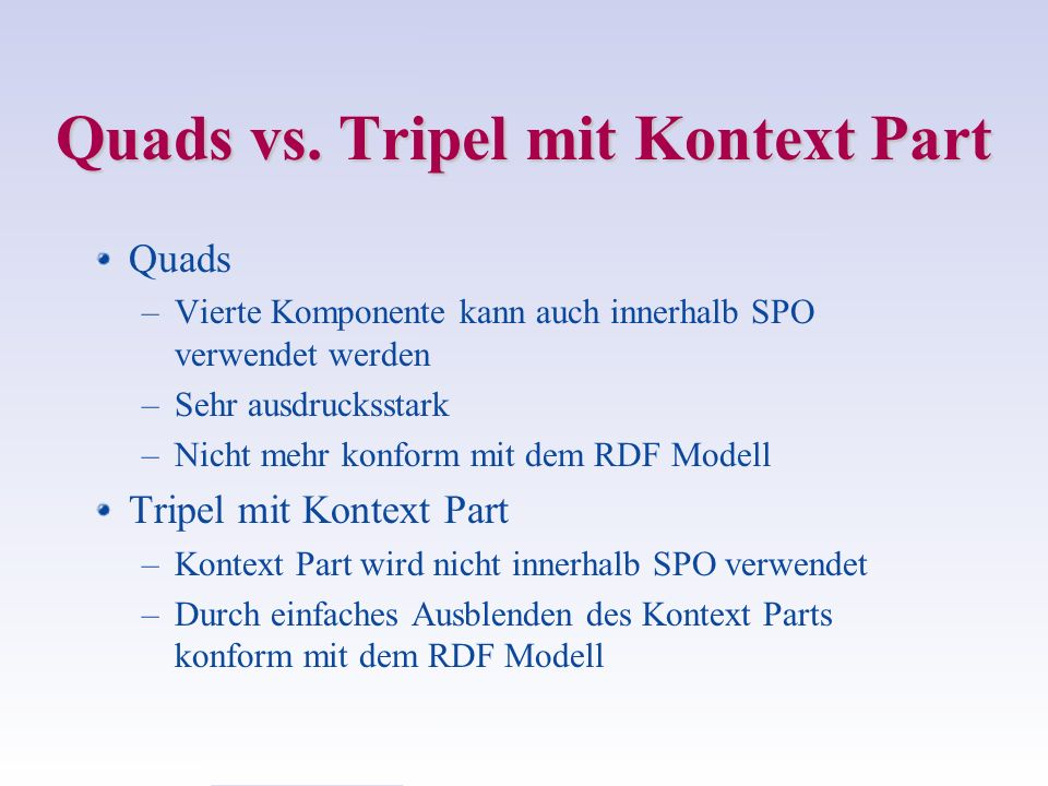 Quads vs. Tripel mit Kontext Part