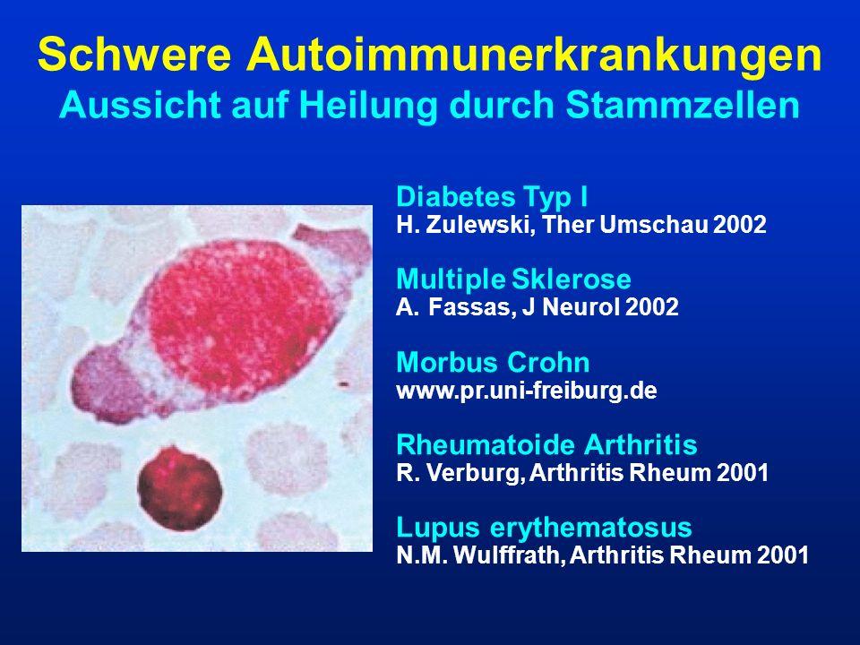 Schwere Autoimmunerkrankungen Aussicht auf Heilung durch Stammzellen