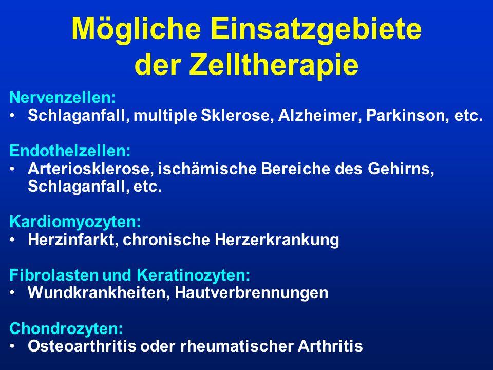 Mögliche Einsatzgebiete der Zelltherapie