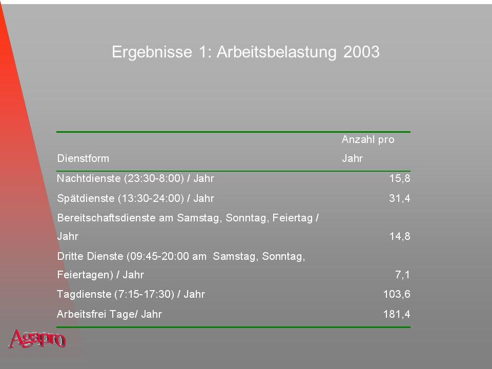 Ergebnisse 1: Arbeitsbelastung 2003