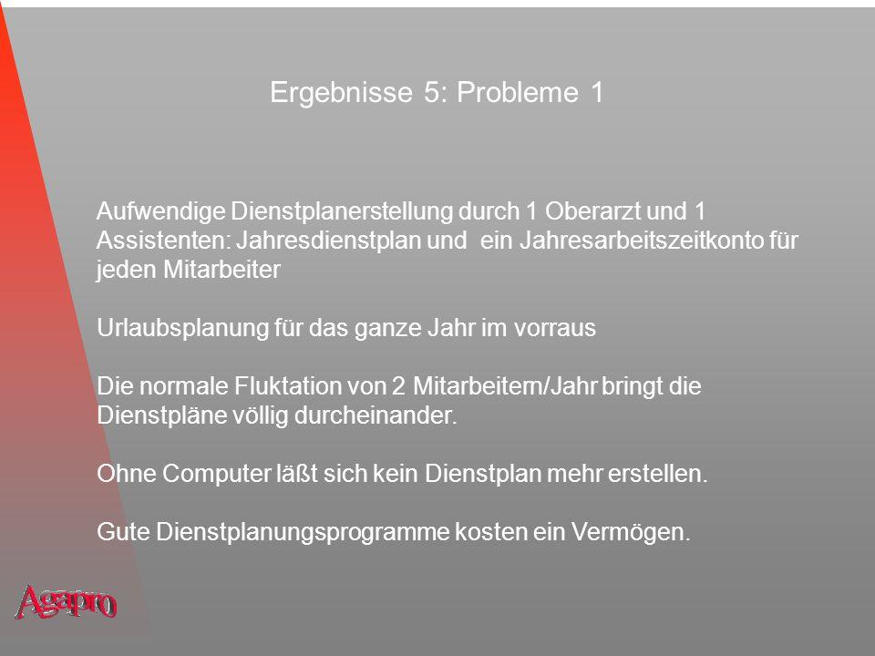 Ergebnisse 5: Probleme 1