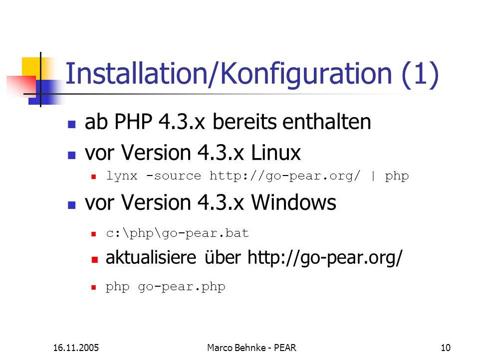 Installation/Konfiguration (1)