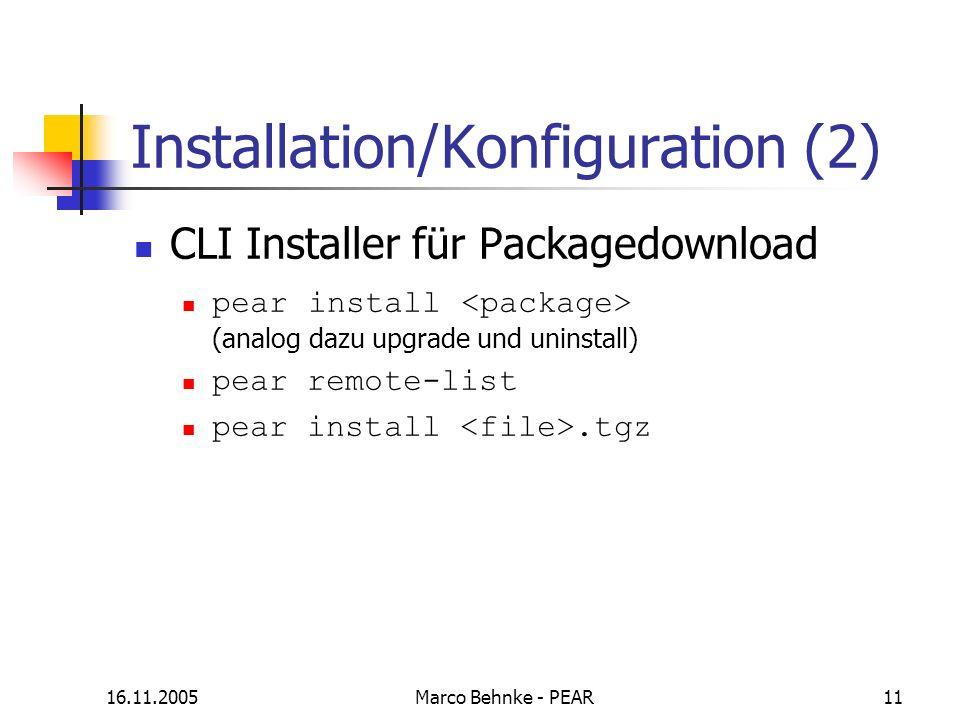 Installation/Konfiguration (2)
