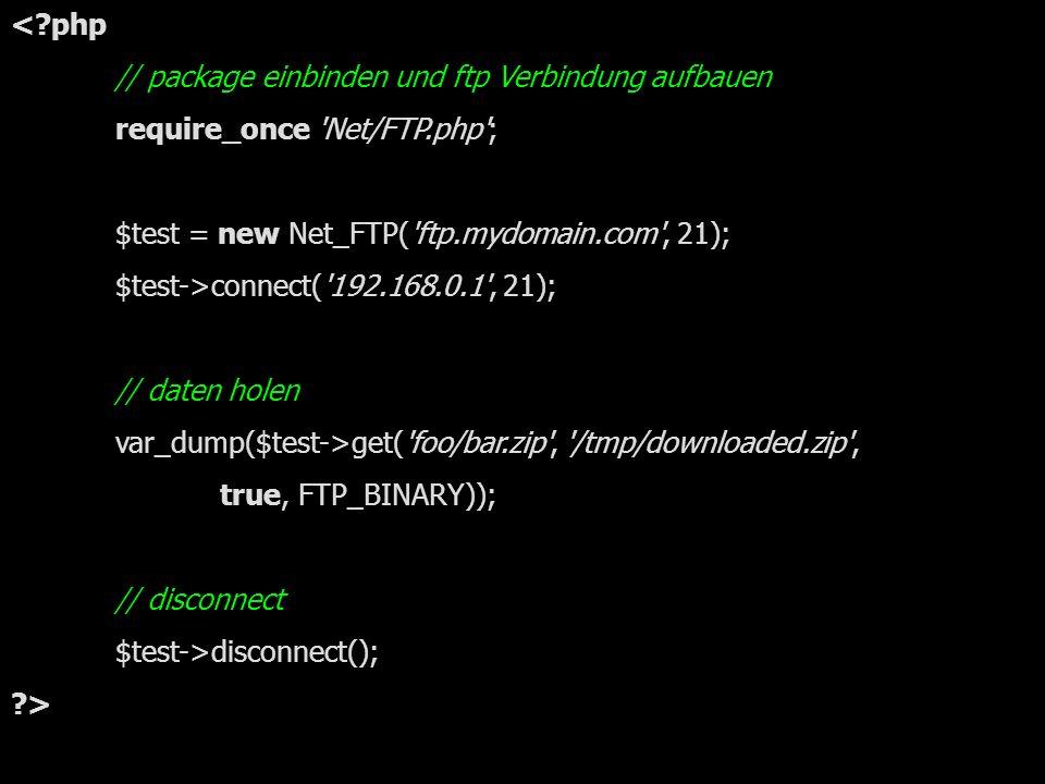 einfaches Beispiel mit Net_FTP
