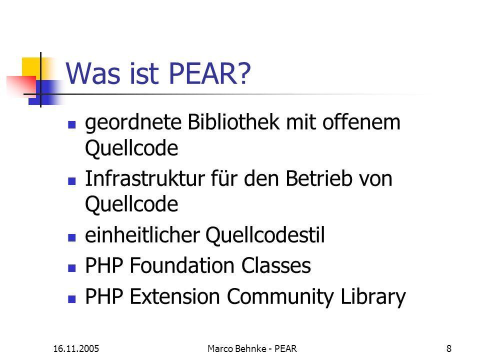 Was ist PEAR geordnete Bibliothek mit offenem Quellcode