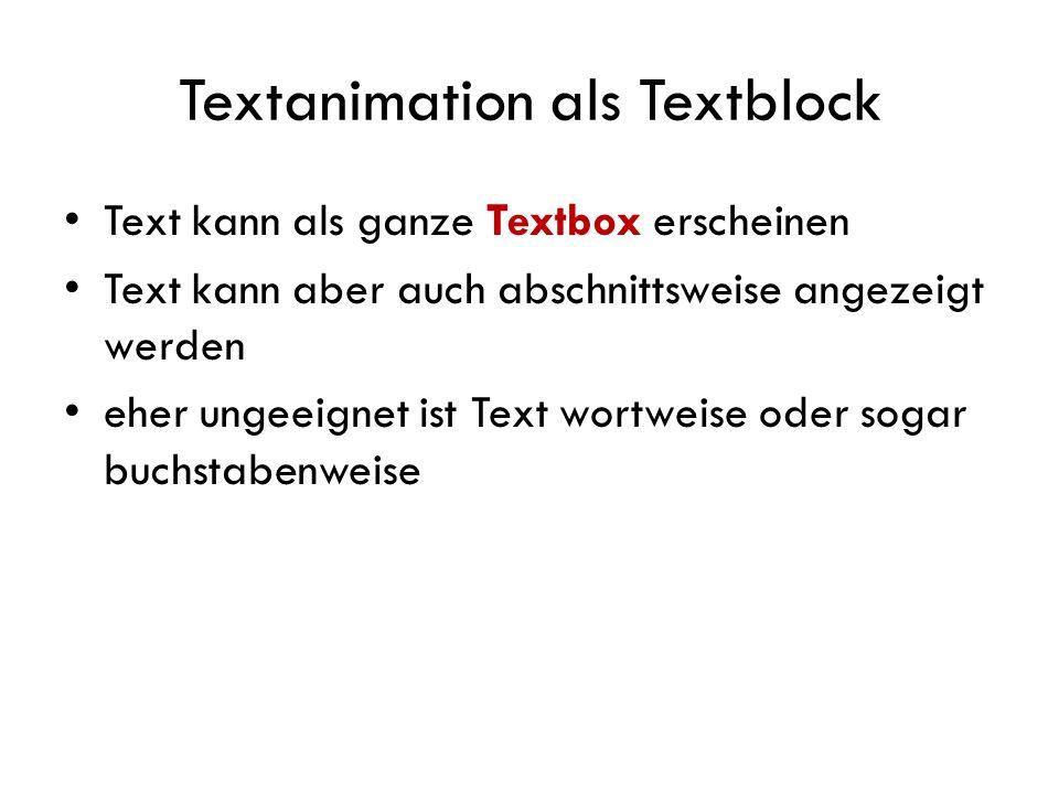 Textanimation als Textblock